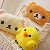 Wholesale Winter thermal Rilakkuma bear yellow chicken soft stuffed plush toy hand warmer toys doll pillow cushion x25cm