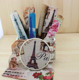 Wholesale 8Pcs Hand dyed Cotton Linen Printed Quilt Fabric For DIY Sewing Patchwork Home Textile Decor x20cm Eiffel Tower