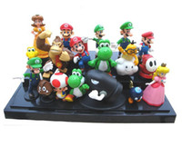Cheap 18pcs set Wholesale Retail Free Shipping Plastic Super Mario Bros PVC Action figures Toys Dolls Free Shipping