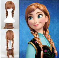 Wholesale Hot Sell Classic New Cartoon Frozen Anna Elsa Wig Queen Wigs Long Braid Cosplay Anime Wig Ponytail
