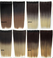 Wholesale 24INCH g Color T99J Clips in Dip Dye Hairpieces Straight Ombre Synthetic Hair extensions Thick Two tone ombre Hair weft