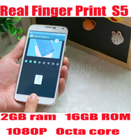 Wholesale Real Fingerprint S5 G900F FHD p MTK6592 Octa core GB RAM GB ROM Android4 KitKat MP finger scanner GPS smart phone
