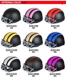 Wholesale Hot Sell Motorcycle helmet summer helmet half helmet leather helmet multicolor election Visor Goggles
