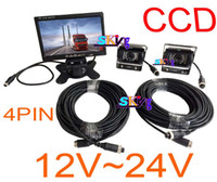 reversing camera ccd - 2 x V IR Waterproof CCD Reverse parking Camera Pin quot LCD Monitor Car Caravan Rear View Kit Free x m video cable