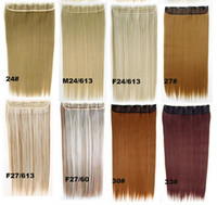 Wholesale clip in on synthetic hair extension with clips women ladies straight slice hairpieces kinds available