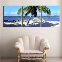 Cheap Modern Painting Home Decorative Art Picture on Canvas The seaside scenery, palm trees and comfortable beach chair