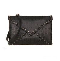 Cheap New 2014 Korean Designer Rivet Envelope Single Shoulder Women Bags Skull Clutch Crossbody Punk Brand Handbags For Girls#SJJ305