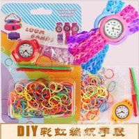 Wholesale loom watch colour rubber band children puzzle watch DIY Rainbow silica gel circle knitting watch