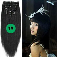 Wholesale Brazilian Virgin Remy Hair Clip In Human Hair Extensions pieces g set Full head jet black Color available