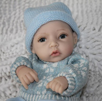 "Cheap Wholesale-12"" Full silicon vinyl reborn baby dolls mini boy smiling toys"