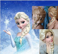 Wholesale retail Frozen wigs most popular cartoon girl Hair Wigs children Cosplay Wig Elsa princess white fluffy long hair single plait ponytail