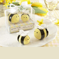 Wholesale piece set Creative quot Mommy and Me Sweet as Can Bee quot Ceramic Honeybee Salt and Pepper Shakers Wedding Favor