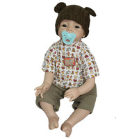 Cheap Wholesale-New Fashion 22 inches reborn babies handmade soft silicone vinyl blonde mohair lifelike newborn baby doll