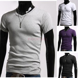 Wholesale Summer Men s New Casual V Neck Tops Short Sleeve Slim Cotton Elastic T shirt Black White Gray Purple