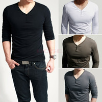 v neck tee shirts - 2014 New Autumn Fashion Men s Stylish Casual Lycra Deep V Neck Long Sleeves T Shirt Tunic Button Tops Tees