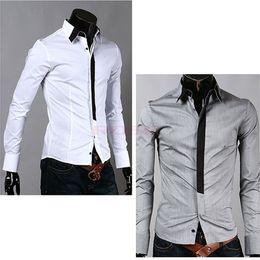 Wholesale New Mens Luxury Casual Stylish Slim Fit Dress Shirts Luxury Gray White M L XL