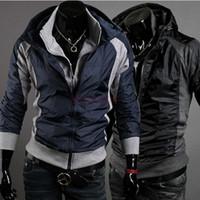 Cheap 2014 New Men's Jacket Slim Fit Sexy Hoodies Coats Jackets Double Zipper Black M, L, XL, XXL 3418