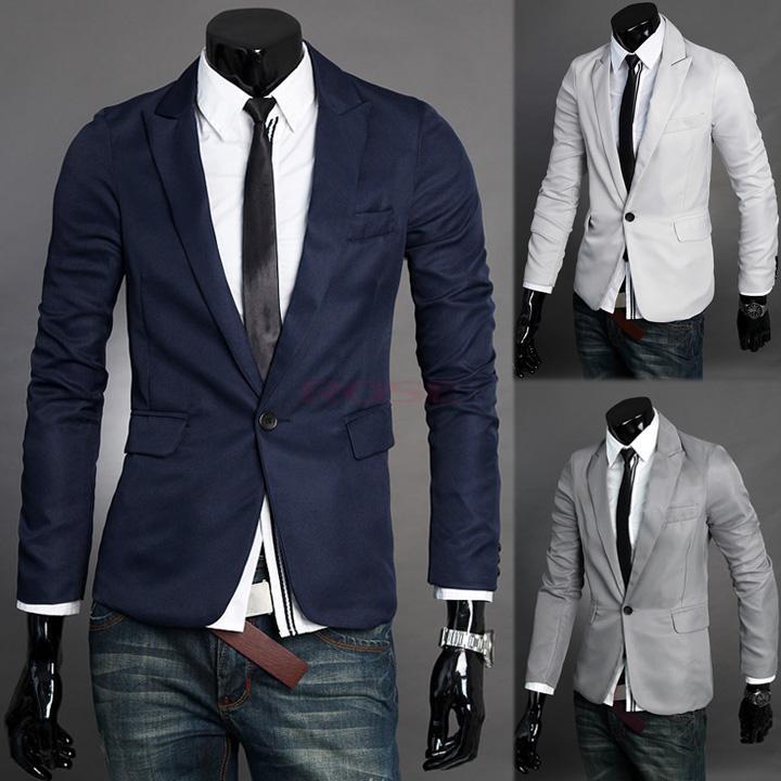 2017 Fashion Slim Fit Stylish Men'S Suit V Neck One Button ...