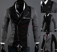 men suit fashion - Men s Blazer Leisure Fashion Cool Slim Sexy Casual Blazer Suit Top Zip Jacket Black Grey M XXL