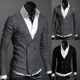 Wholesale Men s Knitwear Cardigan Fake Pocket Design Slim Casual Sweater Coat S M L XL