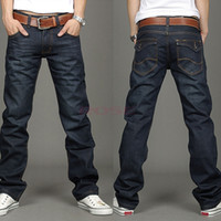 slim fit jeans - 2014 Korea Fashion Men s Jeans Slim Fit Classic denim Jeans Trousers Straight Leg Blue Size Button