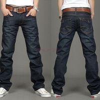 cotton jeans - New Korea Fashion Men s Jeans Slim Fit Classic denim Jeans Trousers Straight Leg Blue Button