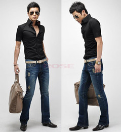 Wholesale Spring High Quality Men Slim Short Sleeve Shirt Fit Black White Business Shirts M XXL SV003154