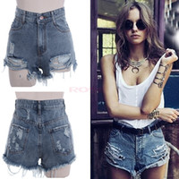 Women women sexy jeans - Vintage Punk Rock Street Fashion Women s Hole Water Wash High Waist Sexy Shorts Jeans Pants SV000535