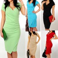 Wholesale 2014 Newest Summer Women s Short Sleeve V neck Elegant Casual Formal Work Evening Sexy Pencil Plus Size Dress SV004804
