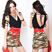 Mini Dresses leopard print mini dress - Women Sexy Deep V neck Leopard Print Splicing sleeveless Bag Hip Mini Dress With Belt