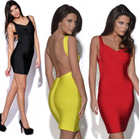 sexy club wear - 2014 New Fashion Sexy Bandage Dress Mini Bodycon Backless Plus Size Party Club Wear Evening Women colors