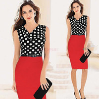 Casual Dresses ladies wear - 2014 New Summer Dress Lady Belted Polka Dot Draped Neck Color Block Wear To Work Party Bodycon Clubwear Dress SV002218