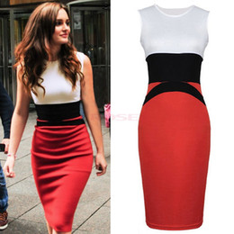 Wholesale 2014 Womens Fashion Midi Bodycon Ladies Red Pencil Evening Slimming Panel Tea Dress S M L XL XXL
