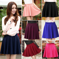 Wholesale New Fashion Women Candy Color High Waist Plain Skater Flared Pleated Cotton Mini Skirt