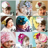 Wholesale NEW Baby hats girls hat headband barrette headdress flower beanie hair pin clip caps MAY81 LIU