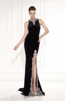 Cheap Jewelry High Neck Evening Gowns Prom Dress Jersey Tarik Ediz 92420 Sheath Sleeveless Illusion Zipper Crystal Beading Side Split Brush Train