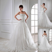 Wholesale Designer Country Style Wedding Dresses Ivory Tulle And Satin Sweetheart A line Sweep Train Lace Up Bridal Gowns Vestidos De Boda