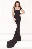 Cheap 2015 Black Evening Dress Jersey Hollow Keyhole Back Lace Square Cap Sleeve Mermaid Sweep Train Fromal Prom Dresses Cheap Tarik Ediz 92405