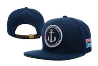 Wholesale hiphop skateboard Wave flat brim Sapback hats deep blue men women baseball caps hat cap cheap online