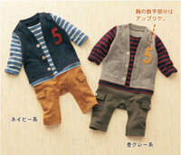 Cheap 2014 baby boy Rompers number 5 striped One-piece pocket Jumpers infant clothing kid wear clothes
