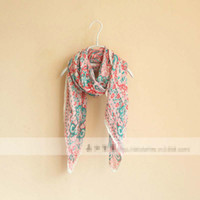 Wholesale Middle East Style Spring Autumn Flower Print Scarf Lady Fashional Long Thin Cotton Tippet Girls Casual Wraps Shiffon Cappa Red K0862