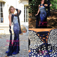 dress dubai - Vintage Crystals Royal Blue Satin Prom Dresses with Sweetheart High Neck Shawl Mermaid Evening Dress Dubai Corset Back Party Gowns BO6555