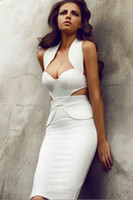 Cheap New Women's Sexy White Celebrity Bandage Bodycon Dress T6489 Halter Sweetheart Backless Knee-Length Evening Party Cocktail Pencil Dress
