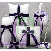 Wholesale White Satin Ribbon Wedding Ceremony Accessories Guestbook Pen Set Ring Pillow Flower Basket Unity Candle Garter