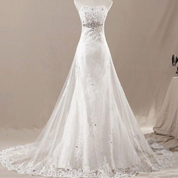 New Fashion Style Royal Lace Wedding Dresses Strapless Lace up Back Crystals Beads Chapel Train A-Line Bridal Gowns Custom Made W12