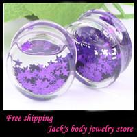 Wholesale Fashion star purple liquid flesh tunnel ear plug F88 mix mm acrylic body jewelry ear tunnel
