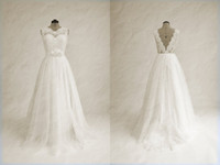 Cheap 100% real photo!Hot 2014 new white fashion A-line scoop neck vintage wedding dress with lace appliques bridal gowns