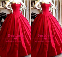 Red satin wedding dresses 2014 fall strapless sweetheart ruf...