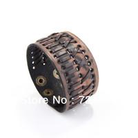 Wholesale Cool Vintage Single Band Leather Wristband Bracelet Wide Cuff Men s Brown J J