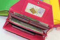 Wholesale Candy colors fashion women wallet long style PU leather lady wallets female coin purse handbag money purses mobile bags